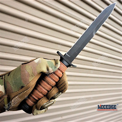 11 3/4 Wwii M3 Fixed Blade Fighting Trench Knife -no Bayonet- Stacked Leather