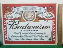 ☆ Tin Signs 2001 Budweiser King Of Beers - Label 979 Sign Is Mint Looks New ☆