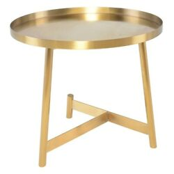 23.8 W Set Of 2 Side Table Brushed Gold Metal Modern Contemporary Tray Top