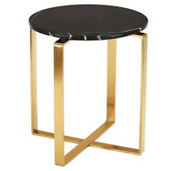 21.5 T Set Of 2 Side Table Black Solid Marble Top Gold Stainless Steel Modern
