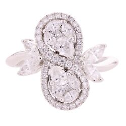 18k White Gold 1.73ctw Diamond Swirl Leaf And Vine Vintage Style Pear Ring Size 7