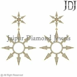 Natural Pave Diamond Starburst Dangle Earrings Solid 14k Yellow Gold Jewelry New