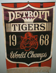 Scarce Large 1968 Detroit Tigers World Series Champions Banner 20 X 29