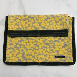 Emaya Design Clutch Envelope Purse Gray Yellow Floral Bag Large Fit Ipad Laptop