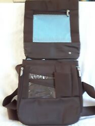 Travelon RFID Anti Theft Cross Over Bag Brown with Light Blue lining Preowned $14.99