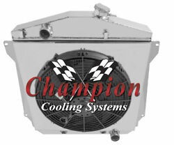 4 Row Bc Radiator W/ 16 Fan And Shroud For 1943 - 1948 Chevy Cars Chevy V8 Conv