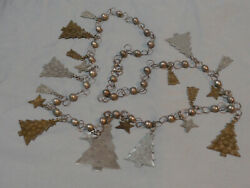 Antique Stamped Brass And German Silver Christmas Tree Stars Charm Necklace