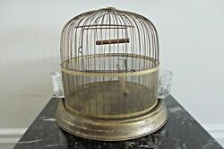 Antique Dome Bird Cage Glass Crystal Tulip Seed Cups Vtg Metal Rustic Farmhouse