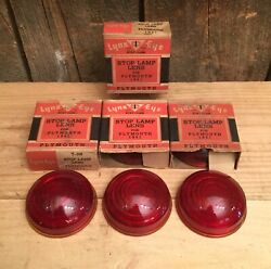 Nos Vintage Lot Of 7 1941 Plymouth Lynx Eye Ruby Glass Stop Lamp Lens T-368
