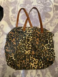 Rebecca Minkoff Designer Washed Nylon Brown Animal Print Tote Bag