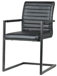22 W Set Of 2 Diane Dining Chair Channel Tufted Genuine Leather Metal Modern