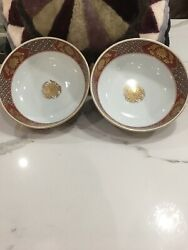 Two Gold Imari Bowls Hand Painted Vintage
