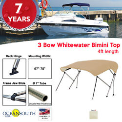 3 Bow Bimini Top Boat Cover 67 - 75 Width 4ft Long Sand With Support Poles