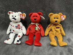 Authentic Ty Beanie Babies - Glory, Osito And Germania - Rare And Pristine Condition