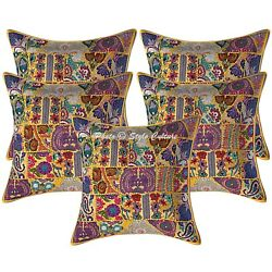 Ethnic Cushion Covers 60cm X 60cm Yellow Patchwork Cotton Boho Scatter Pillows