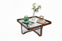 40 W Square Cocktail Table Glass Black Leather Belt Accents Modern Transitional