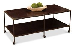 48 W Coffee Table On Casters Solid Iron Frame Brown Leather Brass Detailing