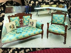 Antique Vintage Victorian Parlor Sets Wooden Hand Carving Chair Sofa