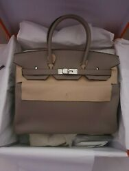 Authentic BRAND NEW 2019 HERMES 35 Gris Asphalte Grey Leather PHW Bag