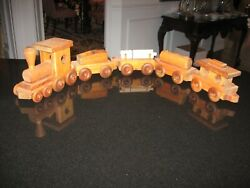 Wood Toy Train - Engine And 4 Cars Amish Handmade Working Toys Usa