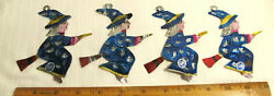Lot Of 3 Vintage Mexico Mexican Folk Art Painted Tin Flying Witches On Brooms