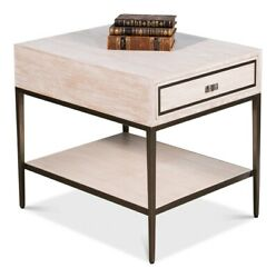 28 L Set Of 2 Side Table Whitewash Solid Oak Wood With Veneer Traditional