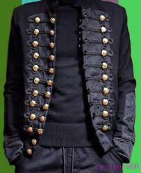 Retro Embroidery Jacket Blazer Military Men Rivet Coat Stand Collar Gold Buttons