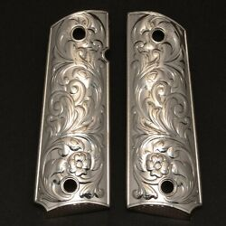 Grips America 1911 Compact Grips Fits Colt Defendersofficers Scroll Nickel
