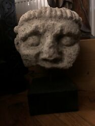 Early Carved Stone Head Medieval? Earlier? Provenance Ex North Yorkshire Coll
