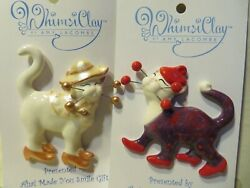 quot;Isadora amp; Virginiaquot; Pair of WhimsiClay Cat Pins HELPS ANIMALS TOO =^.^= =^.^=