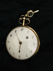 Large 18k Gold Coliau French Paris Verge Fusee Pocket Watch Early 1800s
