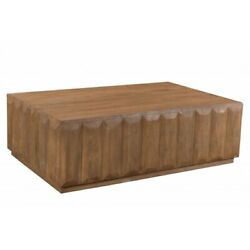 60 L Wooden Coffee Table Solid Mango Wood Ridged Sides Rustic Traditional