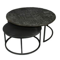 42 W Nesting Coffee Tables Round Black Iron Etched Top Modern Contemporary
