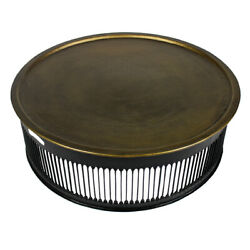 44 W Metal Coffee Table Textured Brass Top Drum Iron Base Modern Contemporary