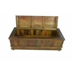 58 L Trunk Table Lift Top Storage Recycled Wood Hand Carved Dental Molding