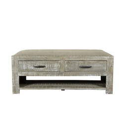 46 L Miles Bench Coffee Table Solid Wood Rustic Grey Fabric Seat 3 Drawers