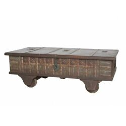 50 L Trunk Coffee Table On Wheels One Of A Kind Recycled Woods Rustic