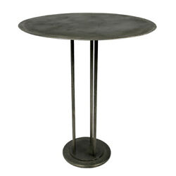 42 T Iron Bar Table Acid Etched Round Top Solid Iron Modern Industrial