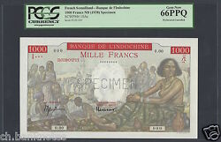 French Somaliland - Lindochine 1000 Francs Nd1938 P10as Specimen Uncirculated