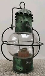 Antique Globe Onion Shaped Ship's Lantern / Lamp With Burner And Glass
