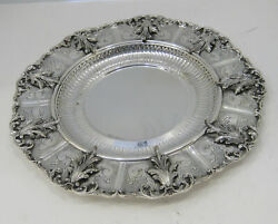 925 Sterling Silver Hand Swirl Chased Leaf Appliques And Fluted Large Round Tray