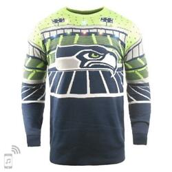 Large Official Licensed NFL Seattle Seahawks Ugly XMAS LightUp Bluetooth Sweater