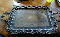 Victorian Art Nouveau Grand Scale Silver Plate Footed Plater C1900 Birmingham