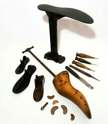 Late 19th-early 20th C Antique Cast Iron And Wood Cobbler's Shoe Repair Tool Set