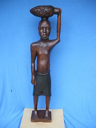 Large Antique Wood Hand Carved Sculpture African Ethnographic Statue 52 Tall