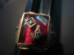 Masonic Ring 14 Kt Gold Red  Stone And Diamond Free Shipping