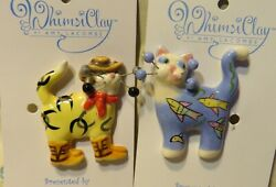 quot;Tex amp; Tropical Fishquot; Pair of WhimsiClay Cat Pins HELPS ANIMALS TOO =^.^= =^.