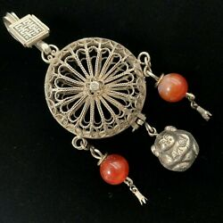 Antique Estate Sterling Silver Signed Chinese Asian Cricket Cage Perfume Pendant