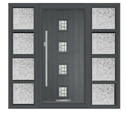 Harlech Solid Composite Door With Side Panels Anthracite Grey