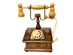 Wooden French Style Rotary Phone Trinket Jewelry Accessories Box Stash Box